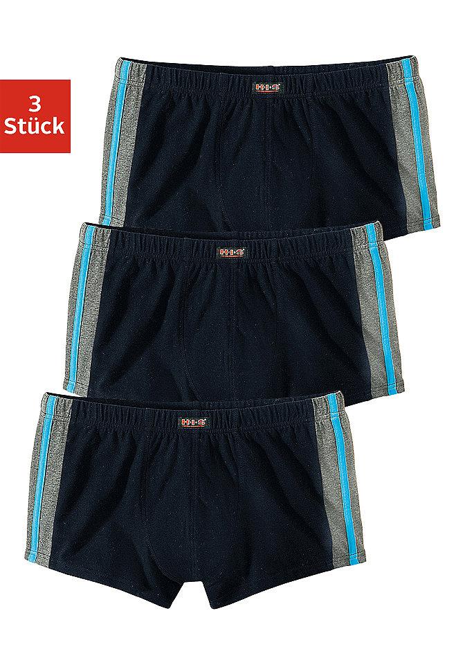 Боксёрские шорты, H.I.S (3 шт.) OttoБоксерские шорты<br>Модный спортивный дизайн с цветными полосами и синей окантовкой. Эластичное одинарное джерси из 95 % хлопка, 5 % эластана.<br><br>Size DE: 7<br>Colour: черный<br>Gender: Мужской<br>Age: Взрослый<br>Material: Верх: 95% Baumwolle_(unterst?tzt_Cotton_made_in_Africa) / 5% эластан