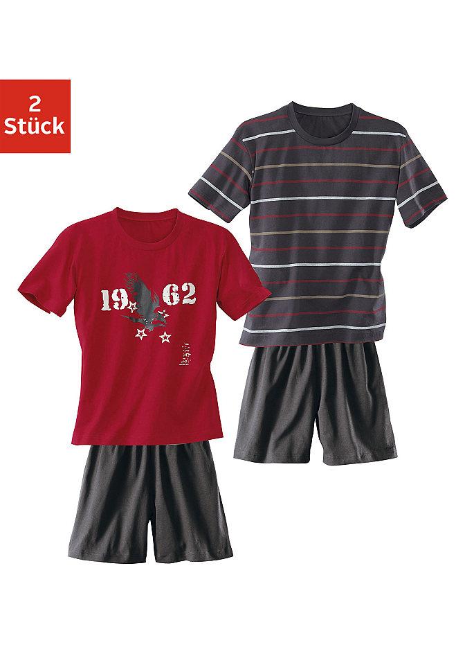null 311894Пижамы<br>1x футболка в полоску и брюки однотонного цвета, 1x футболка с рисунком в виде орла и брюки однотонного цвета.  Из чистого хлопка.<br><br>Size DE: 182<br>Colour: разноцветный<br>Gender: Мужской<br>Age: Детский<br>Material: Верх: 100% хлопок