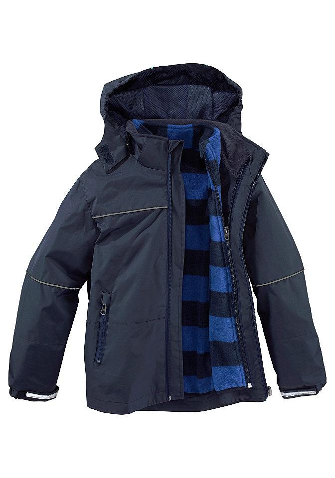 Куртк OttoКуртки<br>Стильная куртка 2 в 1: наружная куртка выполнена из водостойкого, ветрозащитного материала со светоотражающими элементами, внутренняя — из мягкого флиса в полоску. Модель имеет капюшон, сквозную застежку-молнию и два боковых кармана на молниях. Рукава и кокетка декорированы контрастной отстрочкой. Тип изделия: Куртка. Сведения о качестве: Гипоаллергенный материал, прошедший строгий контроль на содержание вредных веществ. Материал: Синтетика. покрой: Базовый. Силуэт/Длина: Прямой, ниже ягодиц. Особенности покроя: Кокетка впереди и на спинке. Особенности модели: Съемная внутренняя куртка из флиса. Воротник: Стойка, на флисовой подкладке. Капюшон: Съемный. Вид застежки: Молния с защитным клапаном. Рукава: Длинные. Низ рукавов: Шов вподгибку, регулируемые хлястики на липучках. Количество карманов: 2. Виды карманов: Боковые карманы на молниях. Низ изделия: Шов вподгибку. Дизайн: Однотонный. Рекомендации по уходу: Машинная стирка. Доставка: В сложенном виде. Состав: 100% полиэстера. Подкладка: 100% полиэстера. Флис: 100% полиэстера. Подкладка/Изнанка: В модели бирюзового цвета: контрастная. В модели темно-синего цвета: в тон основной ткани.<br><br>Size DE: 116<br>Colour: синий<br>Gender: Мужской<br>Age: Детский<br>Material: Флис: 100% полиэстер;Подкладка: 100% полиэстер;Верх: 100% полиэстер