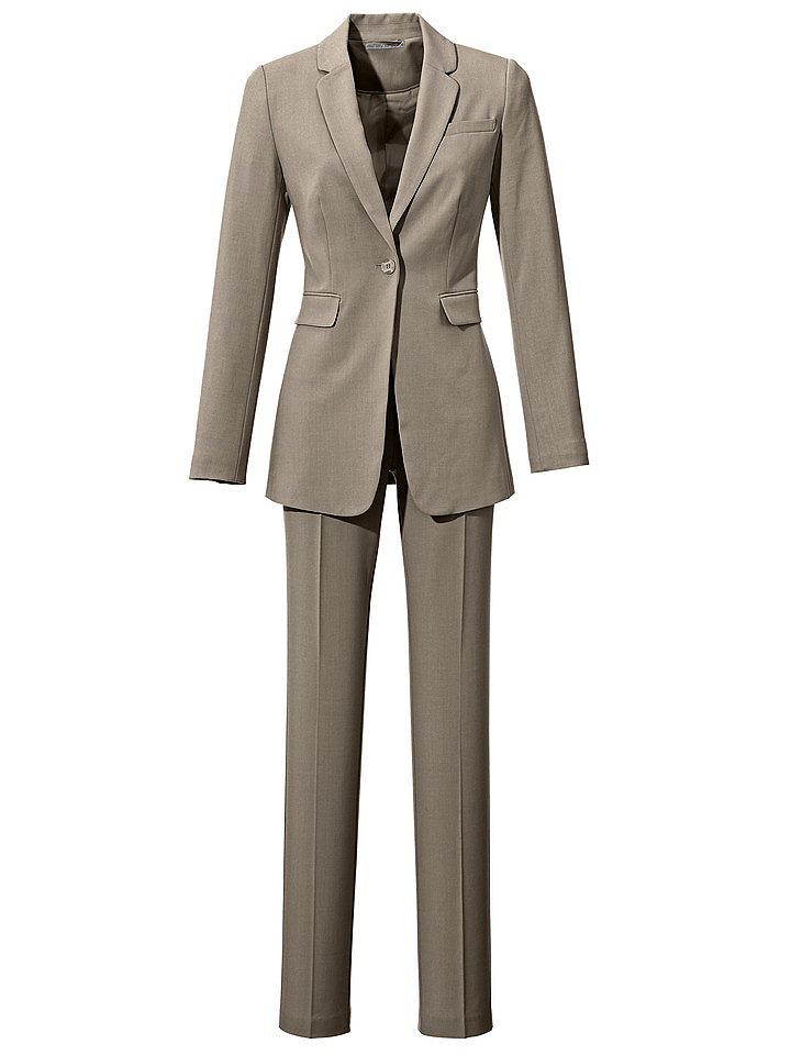 Брючный костюм (2 изделия) OttoРак<br>Приятный на ощупь материал не требует особого ухода. Блейзер: Застёжка на 1 пуговицу. Карманы с клапанами, 1 карман на линии груди. сзади – разрез. Длина ок. 68 см. Покрой отлично подчёркивает фигуру. Брюки: Прямой покрой брюк, со шлёвками для ремня, втачными карманами и карманами сзади. Классическая посадка. Длина по внутреннему шву ок. 81 см. 77 % полиэстера, 20 % вискозы, 3 % эластана. Подкладка блейзера: 100 % полиэстера. Машинная стирка.<br><br>Size DE: 38<br>Colour: бежевый<br>Gender: Женский<br>Age: Взрослый<br>Material: Подкладка: 100% полиэстер;Верх: 77% полиэстер / 20% вискоза / 3% эластан