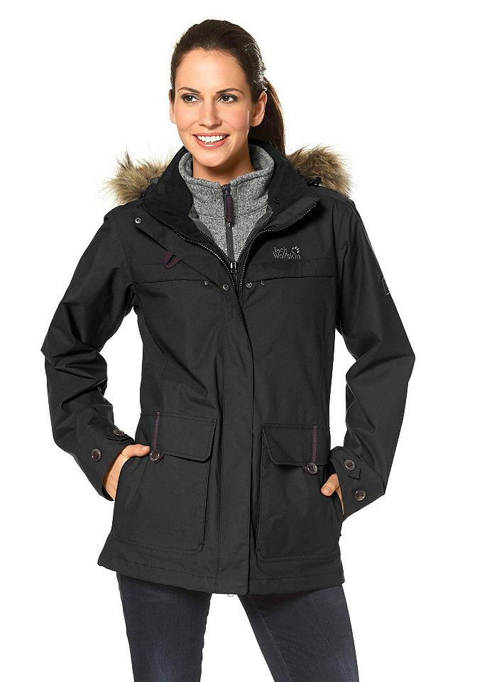 Куртка 3 в 1 Corner Brook OttoКуртки<br>Куртка из дышащей ветро- и водонепроницаемой ткани подойдет для любых погодных условий благодаря особенно прочным швам (выдерживает давление до 10 000 мм вод. ст.). Флисовая подкладка отстегивается и может носиться отдельно. Для лучшего сохранения тепла модель снабжена плотной молнией, дополненной застежкой на кнопки. Удобный капюшон украшен искусственным мехом. Модель имеет узкий покрой. Рекомендована машинная стирка. Состав модели в черном и коричневом оттенках: 100% полиамид. Подкладка: 100% полиамид. Внутренняя курточка: 100% полиэстер. Состав модели в темно-синем оттенке: 100% полиамид. Подкладка: 100% полиэстер. Внутренняя курточка: 100% полиэстер.<br><br>Size DE: XS<br>Colour: черный<br>Gender: Женский<br>Age: Взрослый<br>Material: Внутренняя куртка: 100% полиэстер;Подкладка: 100% полиэстер;Верх: 100% полиамид