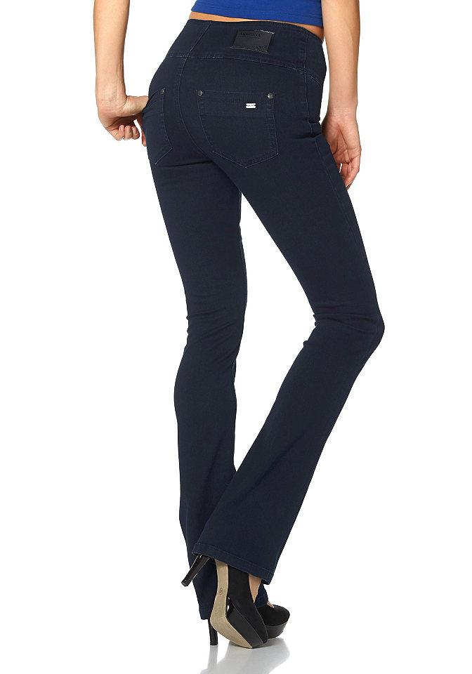 Джинсы-бутка OttoПокрой Bootcut<br>Высокий пояс и формирующие швы для эффекта коррекции фигуры. Модель буткат с классической посадкой. Имеет застежку-молнию. Легкий эффект состаренности. Комфортный эластичный деним. Тип изделия: джинсы буткат. Форма штанин: буткат. Силуэт: узкий. Пояс + застежка: пуговица, молния. Посадка: комфортная. Рекомендуется машинная стирка. Состав материала: светло-серый, размытый, темно-синий: 75% хлопок, 23% полиэстер, 2% эластан. Черный: 75% хлопок, 23% полиэстер, 2% эластан.<br><br>Size DE: 46<br>Colour: синий<br>Gender: Женский<br>Age: Взрослый<br>Material: Верх: 71% хлопок / 27% полиэстер / 2% эластан