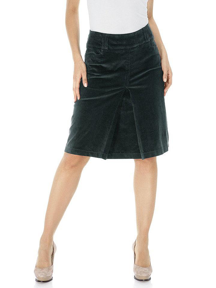 Прямая юбка из вельвета