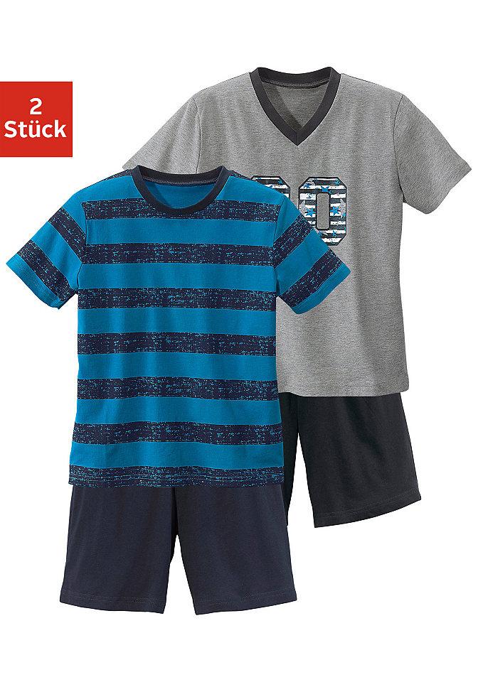 null 446572Пижамы<br>Модель укороченного кроя. В каждом комплекте присутствует одна футболка с V-образным вырезом и принтом на груди и одна футболка с круглым вырезом и узором в полоску. Брюки темно-синего и черного цветов, с эластичным поясом. Состав: 100% хлопок.<br><br>Size DE: 134<br>Colour: разноцветный<br>Gender: Мужской<br>Age: Детский<br>Material: Верх: 100% Baumwolle_(unterst?tzt_Cotton_made_in_Africa)