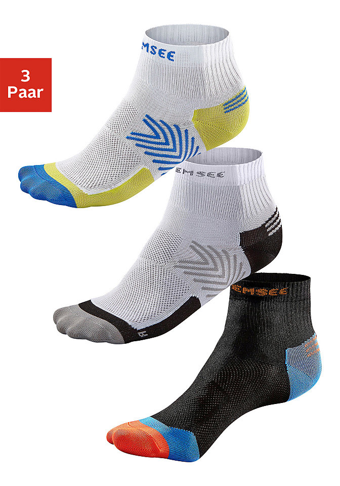 Функциональные короткие носки, Chiemsee, »Running« (3 пары) OttoЧулки и носки<br>Стильная модель Running марки Chiemsee! Спортивные носки в практичной упаковке из трех пар. Эластичная резинка гарантирует идеальную посадку, а плоский шов на мыске и широкие вставки из трикотажа пике обеспечивают комфорт при ходьбе.<br><br>Size DE: 43<br>Colour: разноцветный<br>Gender: Мужской<br>Age: Взрослый<br>Material: Верх: 98% полиамид / 2% эластан