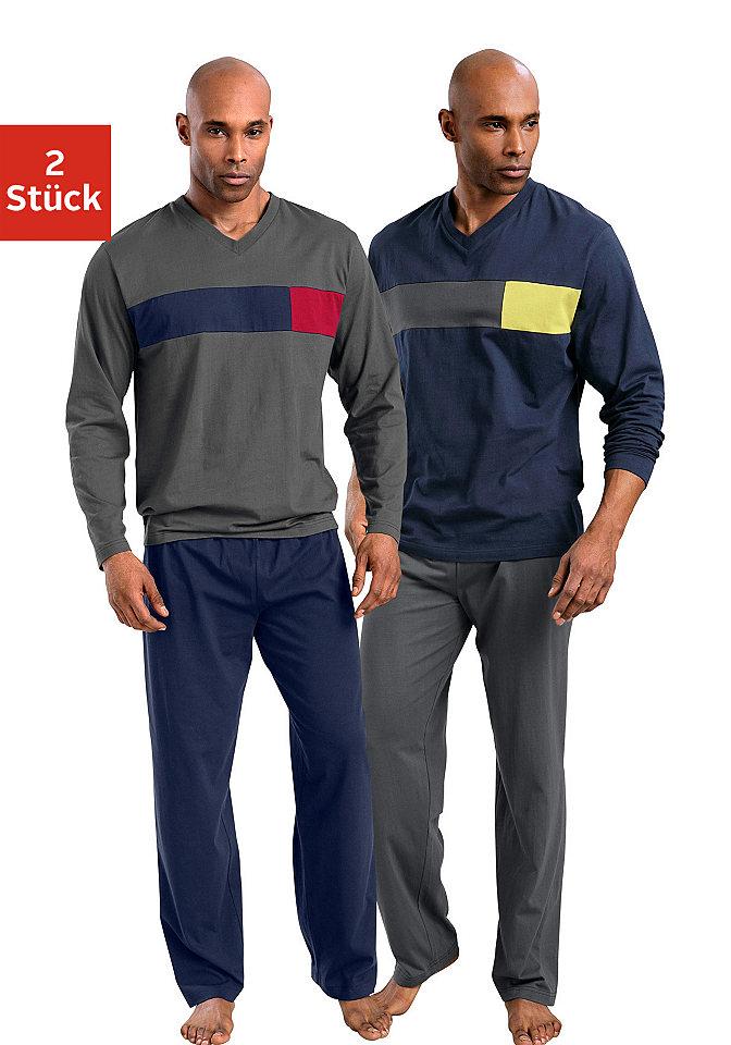Пижама, Le Jogger (2 шт.) OttoНочная одежда<br>Комплект из двух пижам длинного кроя. Лонгсливы имеют V-образный вырез и контрастную вставку на груди. Брюки однотонной расцветки с эластичным поясом. Состав: 100% хлопок.<br><br>Size DE: 60<br>Colour: синий<br>Gender: Мужской<br>Age: Взрослый<br>Material: Верх: 100% хлопок
