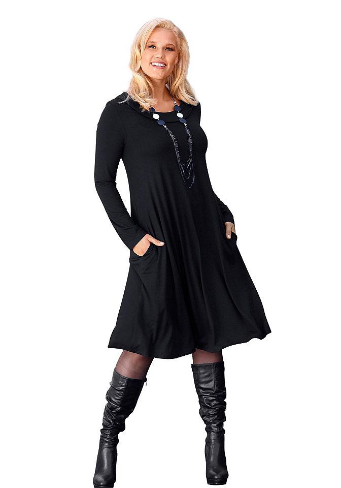 null 632665Платья из джерси<br>Очень загадочная модель платья, которое разработано конструкторами и скроено точно по уникальным лекалам, позволяющим женщинам выглядеть стройными и высокими. Главный акцент в этом оригинальном платье сделан на вырез. Он смелый, крупный и округлый, обработан широкой яркой окантовкой. Ответ в универсальности покроя прячется в гениальности «А» образного силуэта, длиной до 100 сантиметров, который способен визуально менять фигуру только в лучшую сторону. Мелкие подкройные детали, прямые швы, точные вытачки, косые карманы с планками удлиняют силуэт и дополнительно стройнят.<br><br>Size DE: 56<br>Colour: черный<br>Gender: Женский<br>Age: Взрослый<br>Material: Верх: 95% вискоза / 5% эластан