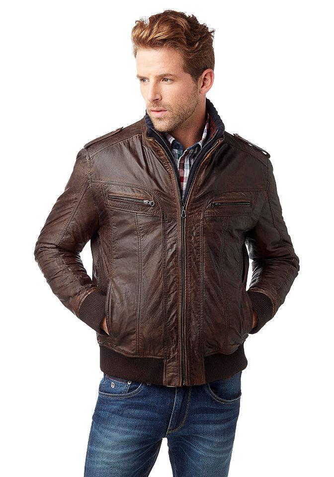 Кожаная куртк OttoКуртки<br>Яркая и стильная кожаная куртка от Rhode Island, выполненная из высококачественной наппы из овчины. Тип изделия: кожаная куртка. Классический покрой. Рекомендуется ручная чистка. Лицевой материал: 100% кожа. Подкладка: 100% хлопок. Подкладка рукавов: 100% полиэстер.<br><br>Size DE: XS<br>Colour: коричневый<br>Gender: Мужской<br>Age: Взрослый<br>Material: Подкладка рукава: 100% полиэстер;Подкладка: 100% хлопок;Верх: 100% кожа (овечья)