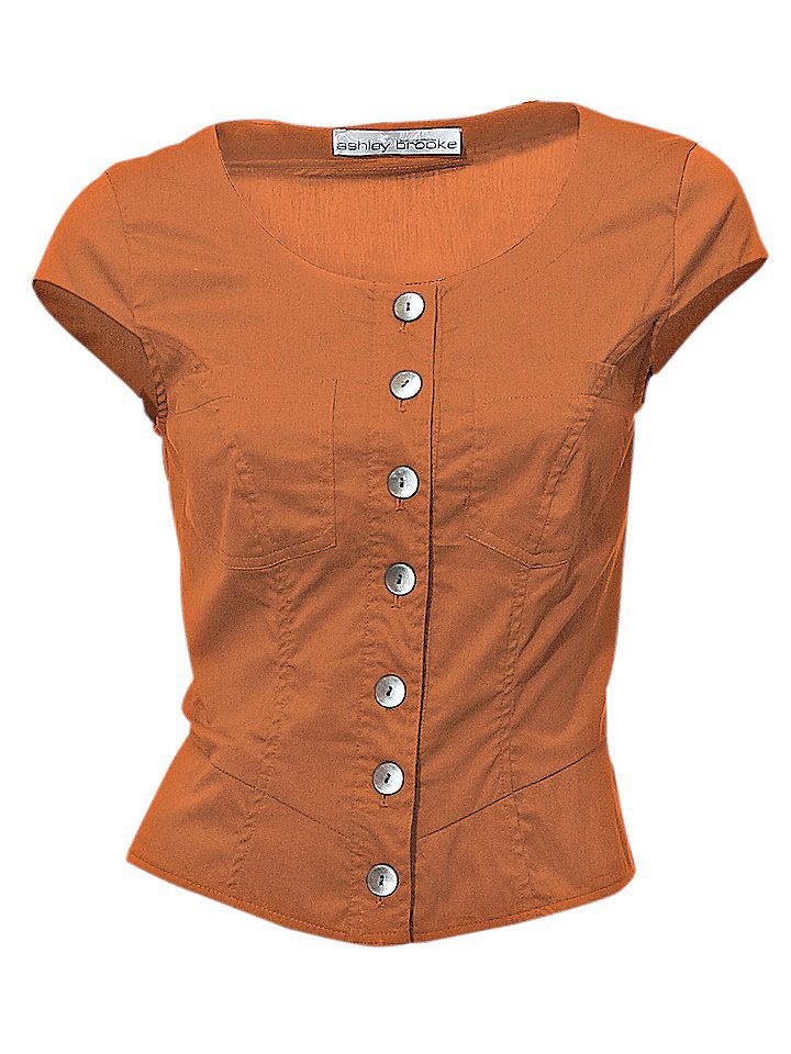 Блузка OttoВесы<br>Шикарный короткий покрой с цельнокроеными рукавами и 2 карманами на линии груди. Со стильной шнуровкой на спине. Закруглённый нижний край. Длина ок. 48 см. Покрой отлично подчёркивает фигуру. Из 97 % хлопка, 3 % эластана. Машинная стирка.<br><br>Size DE: 36<br>Colour: оранжевый<br>Gender: Женский<br>Age: Взрослый<br>Material: Верх: 97% хлопок / 3% эластан