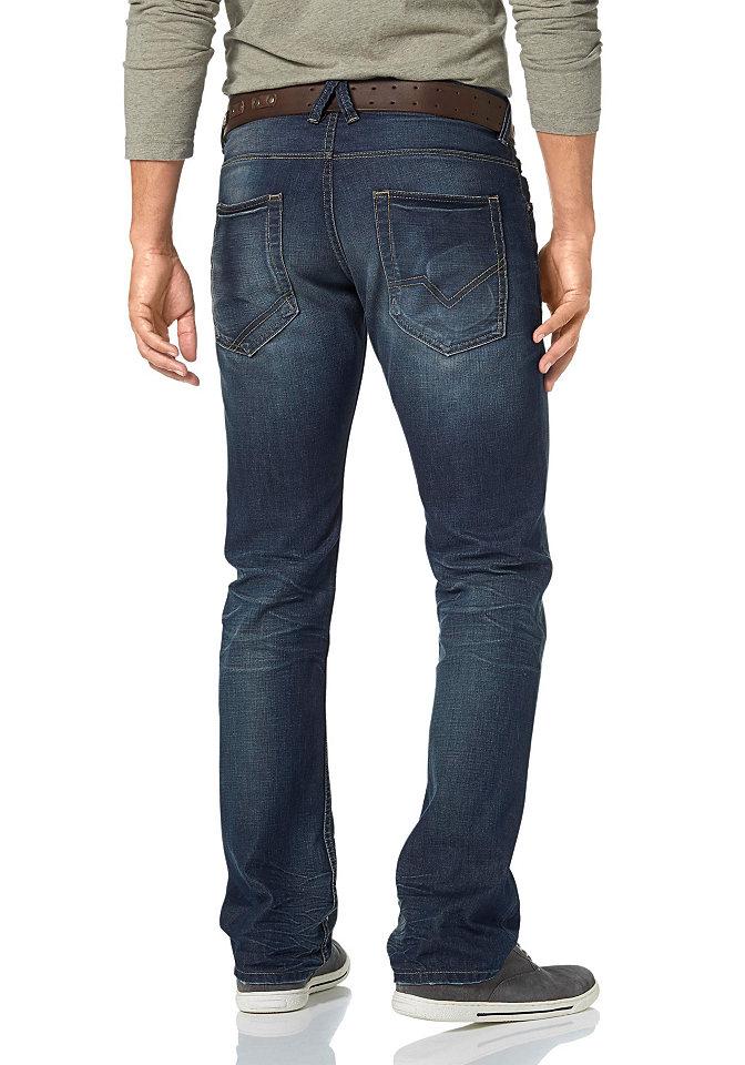 Джинсы с 5-ю карманам OttoПрямой покрой штанин<br>Джинсы с эффектом состаренности и винтажными деталями. Имеют заниженную посадку, прямую форму брючин. Удобно сидят на талии. Выполнены из качественного, комфортного денима. Посадка: заниженная. Края брюк: с прострочкой. Покрой: зауженный. Покрой/длина: длинная модель. Тип застежки: пуговицы.<br><br>Size DE: 36<br>Colour: синий<br>Gender: Мужской<br>Age: Взрослый<br>Material: Верх: 100% хлопок