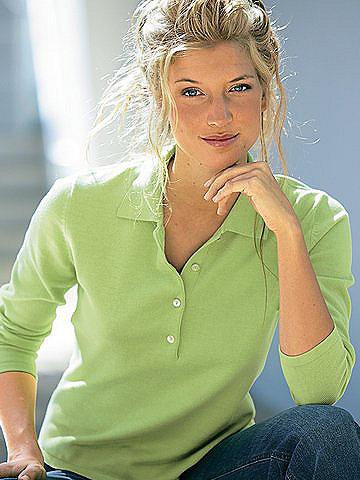 Пуловер-поло OttoОвен<br>Пуловер-поло. Длина ок. 58 см. 100% хлопка. Подчёркивающий фигуру покрой. Стирка.<br><br>Size DE: 50<br>Colour: зеленый<br>Gender: Женский<br>Age: Взрослый<br>Material: Верх: 100% Baumwolle_(mass_balance)