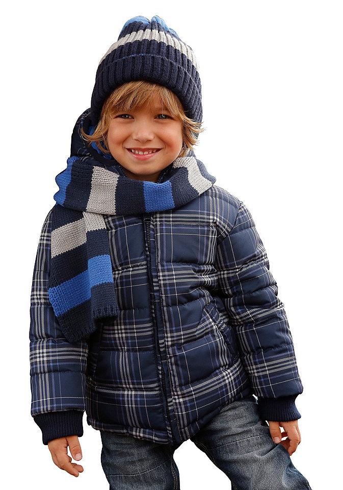 Стеганая куртка OttoЗимняя одежда<br>Стеганая куртка от марки Arizona не только невероятно практичная, но и модная: двухстороннюю модель можно носить клетчатой стороной или однотонной изнанкой наверх. С обеих сторон поверхность материала защищает от ветра и дождя, также есть карманы по бокам. Куртка на теплой подкладке, с капюшоном и резинками на рукавах - подходит для холодной погоды.<br><br>Size DE: 140<br>Colour: синий<br>Gender: Мужской<br>Age: Детский<br>Material: Подбивка: 100% полиэстер;Подкладка: 100% полиэстер;Верх: 100% полиэстер