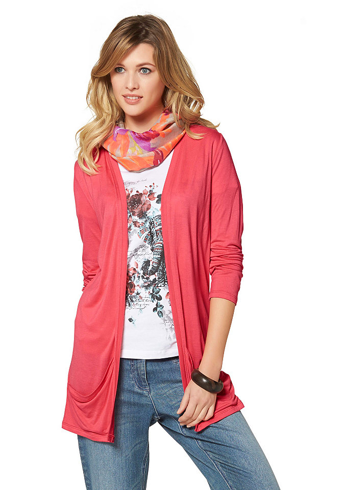 Кардиган OttoСпортивные куртки<br>Модный удлиненный кардиган из мягкого джерси от бренда Cheer – идеальный вариант для комбинирования. Модель свободного силуэта без застежек комфортна в каждой детали, сшита из вискозного трикотажа, имеет 2 кармана. Кардиган можно сочетать с любой одеждой, создавая оригинальные офисные или повседневные ансамбли.<br><br>Size DE: 38<br>Colour: красный<br>Gender: Женский<br>Age: Взрослый<br>Material: Верх: 100% вискоза