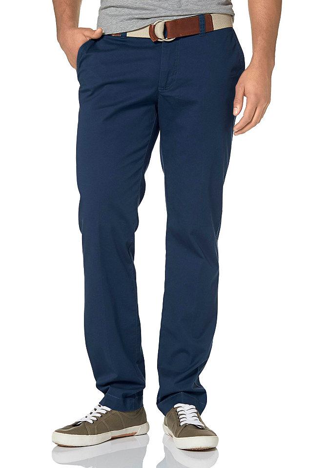 Брюки-чино OttoБрюки<br>Однотонные брюки чинос марки Rhode Island подойдут для создания многочисленных образов для работы и отдыха. Идеальный комфорт обеспечивает ткань из натурального хлопка. Модель имеет заниженную посадку, прямую форму брючин и застегивается на молнию. Рекомендована машинная стирка. Состав: 98% хлопок, 2% эластан.<br><br>Size DE: 29<br>Colour: синий<br>Gender: Мужской<br>Age: Взрослый<br>Material: Верх: 98% хлопок / 2% эластан