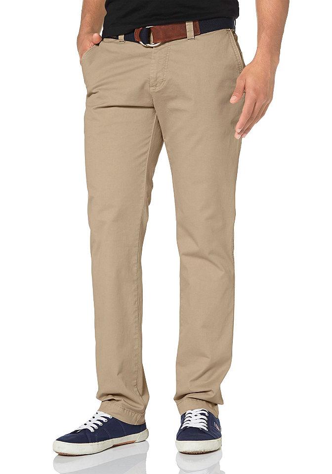 Брюки-чино OttoБрюки<br>Однотонные брюки чинос марки Rhode Island подойдут для создания многочисленных образов для работы и отдыха. Идеальный комфорт обеспечивает ткань из натурального хлопка. Модель имеет заниженную посадку, прямую форму брючин и застегивается на молнию. Рекомендована машинная стирка. Состав: 98% хлопок, 2% эластан.<br><br>Size DE: 30<br>Colour: бежевый<br>Gender: Мужской<br>Age: Взрослый<br>Material: Верх: 98% хлопок / 2% эластан