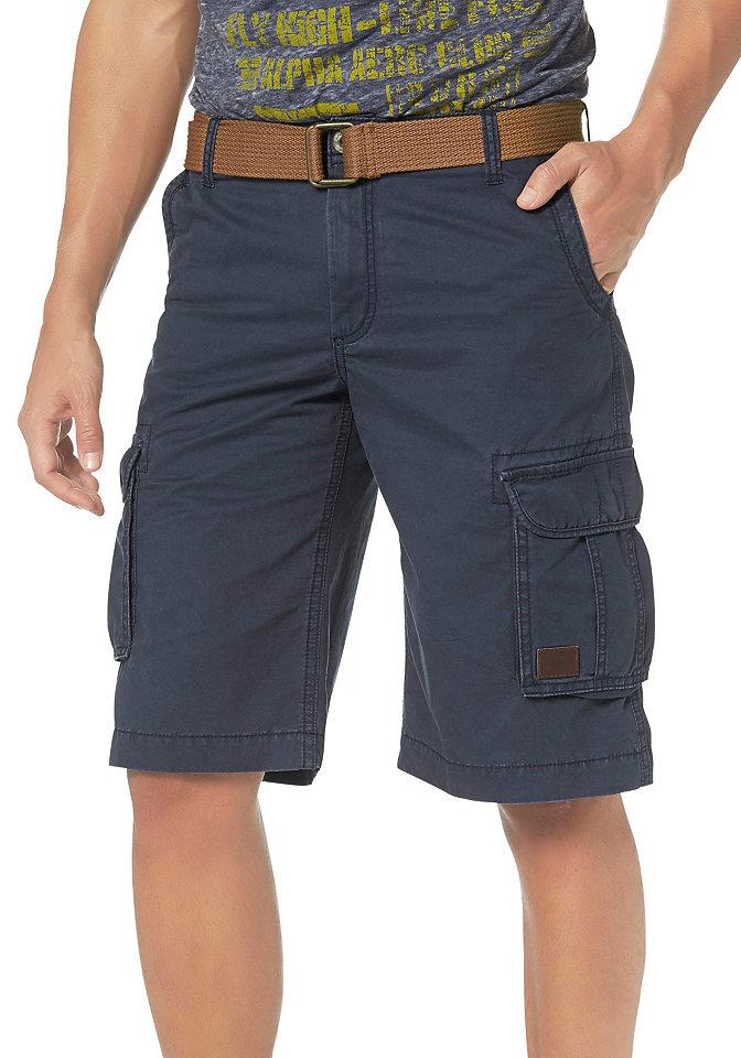 Бермуд OttoШорты &amp; бермуды<br>Стильная модель с ремнем из текстиля в комплекте. Имеет карманы спереди, сзади и по бокам, а также небольшой логотип. Выполнена из комфортного материала. Посадка: заниженная. Покрой: классический. Покрой/длина: до колен. Тип застежки: молния.<br><br>Size DE: 32<br>Colour: синий<br>Gender: Мужской<br>Age: Взрослый<br>Material: Верх: 100% хлопок