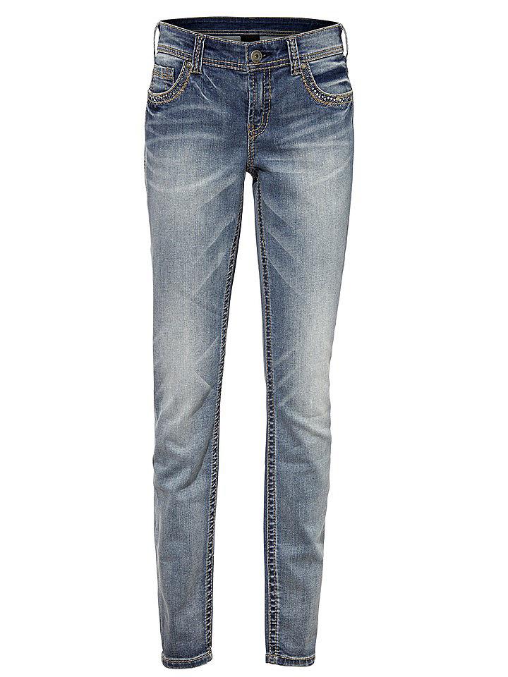 Джинсы OttoДжинсы «дудочки»<br>Трендовые джинсы-дудочки - маст-хэв для продвинутой модницы! Узкий покрой отлично подчеркивает фигуру и зрительно вытягивает силуэт. Благодаря эластану модель с заниженной талией отлично сидит и не сковывает движения. Джинсы декорированы контрастной прострочкой и отделкой пайетками. Завершающий штрих - эффект потертости. С толстовкой и кроссовками на каждый день или с майкой и шпильками на вечеринку - носите джинсы, куда угодно! Длина по внутреннему шву для размера N ок. 77 см, для размера К ок. 71 см.<br><br>Size DE: 23<br>Colour: синий<br>Gender: Женский<br>Age: Взрослый<br>Material: Верх: 98% хлопок / 2% эластан