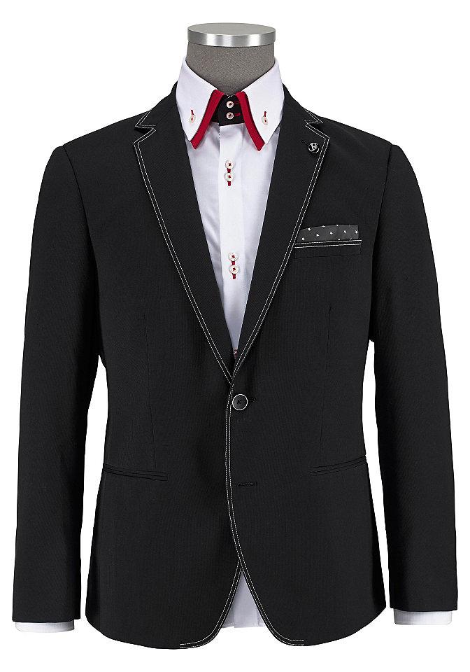 Пиджа OttoПиджаки<br>Классическая модель с 2-мя пуговицами. Контрастная вышивка, три кармана с окантовкой спереди. Нагрудный платок. Простой в уходе, немнущийся материал. Покрой: приталенный. Покрой/длина: короткая. Тип застежки: застежка на 2 пуговицы.<br><br>Size DE: 50<br>Colour: черный<br>Gender: Мужской<br>Age: Взрослый<br>Material: Подкладка: 100% полиэстер;Верх: 70% полиэстер / 30% вискоза