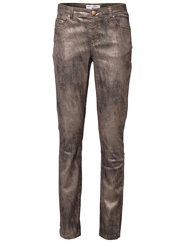 Джинсы OttoДжинсы «дудочки»<br>Экстравагантное решение - модные джинсы Rick Cardona! Узкая модель с низким поясом, дополненным петлями для ремня, и 5 карманами благодаря эластичному хлопку облегает фигуру и при этом не сковывает движения. Оригинальная расцветка ткани с легким металлическим блеском придает брюкам эффектный вид. Хотите быть в центре внимания? Тогда вам необходимо купить эти женские джинсы-дудочки! Длина по внутреннему шву для размера N ок. 71 см, для размера К ок. 65 см.<br><br>Size DE: 38<br>Colour: металлик<br>Gender: Женский<br>Age: Взрослый<br>Material: Верх: 98% хлопок / 2% эластан