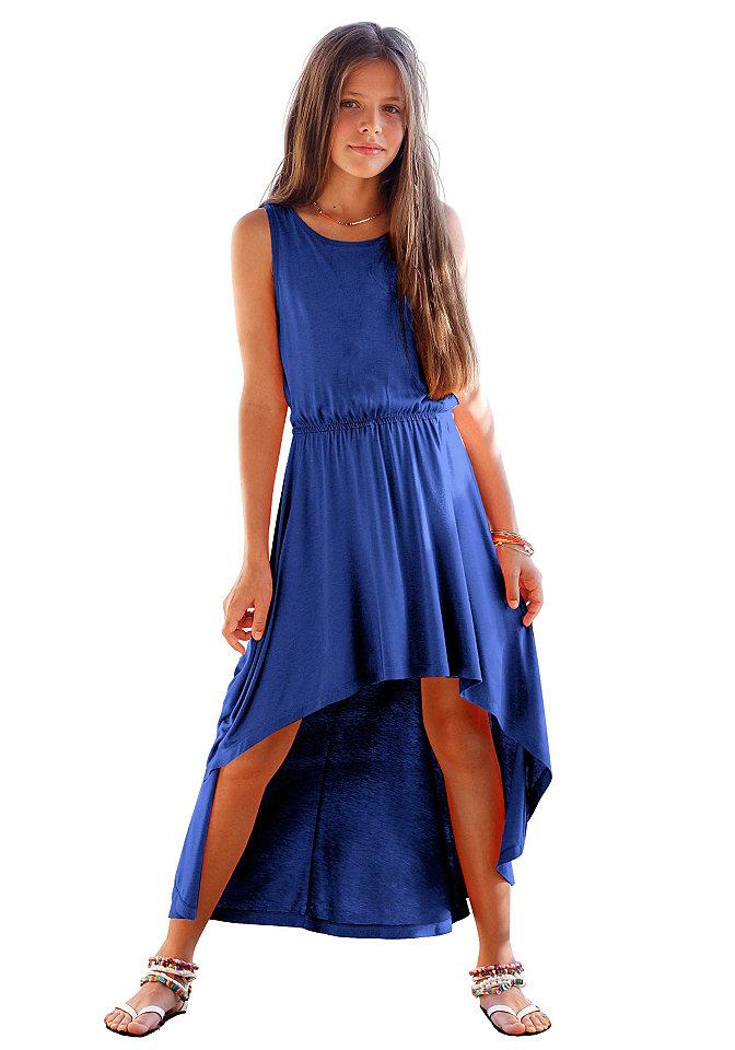 Платье для девочек OttoПлатья и юбки<br>Эластичный пояс на линии талии. Широко расклешённая юбка сзади длиннее, чем спереди. Мягко струящийся материал из 100 % вискозы.<br><br>Size DE: 128<br>Colour: синий<br>Age: Детский<br>Material: Верх: 100% вискоза