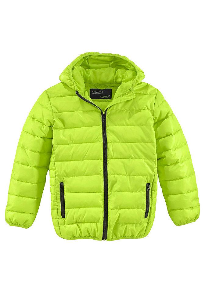 Стеганая куртка OttoЗимняя одежда<br>Стильная стеганая куртка от модного бренда Arizona – идеальный выбор для холодной зимней погоды. Теплая внутренняя подкладка и эластичная резинка по краям модели прекрасно защищают от холода и удерживают тепло внутри. Оригинальная застежка на молнии и практичные молнии на карманах гармонично сочетаются с яркой расцветкой куртки и добавляют ей динамичности и непринужденности. Классический прямой фасон дарит свободу движений и отлично подойдет для активного отдыха. Куртка составит актуальный и законченный образ в комплекте с яркой шапкой и шарфом. Arizona – лучшая одежда для юных модников!<br><br>Size DE: 170<br>Colour: зеленый<br>Gender: Мужской<br>Age: Детский<br>Material: Подбивка: 100% полиэстер;Подкладка: 100% полиэстер;Верх: 100% полиэстер