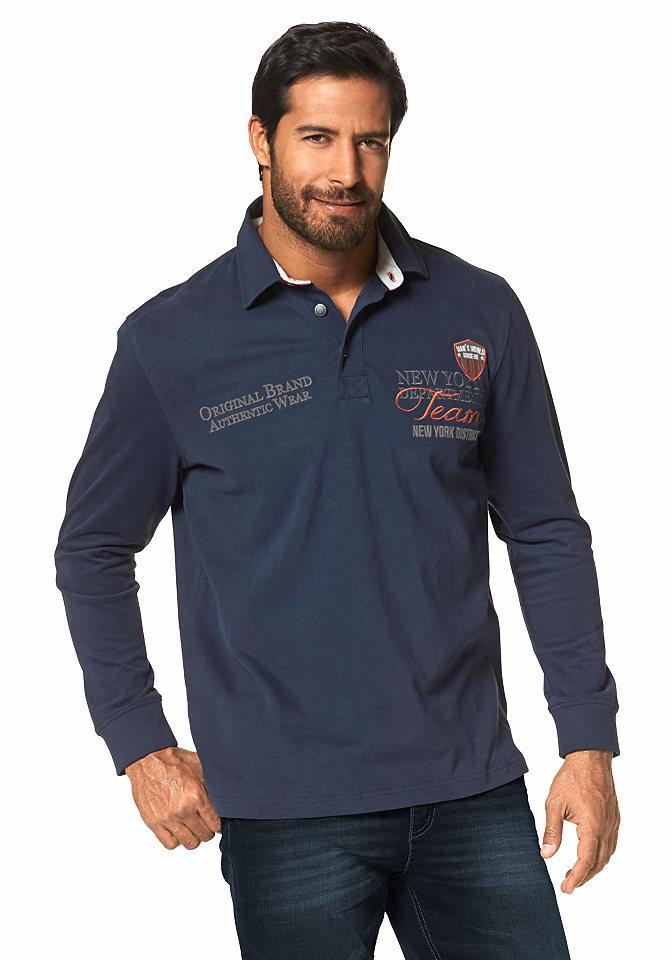Футболка для регб OttoФутболки<br>Стильный лонгслив в спортивном стиле марки Man?s World. Модель имеет контрастный воротник-поло на пуговицах и подкупает своей аутентичной отделкой. Тип изделия: Rugbyshirt. покрой: Комфортный. Рекомендации по уходу: Машинная стирка. Состав: 100% хлопок.<br><br>Size DE: 5XL<br>Colour: синий<br>Gender: Мужской<br>Age: Взрослый<br>Material: Воротник: 100% хлопок;Верх: 100% хлопок