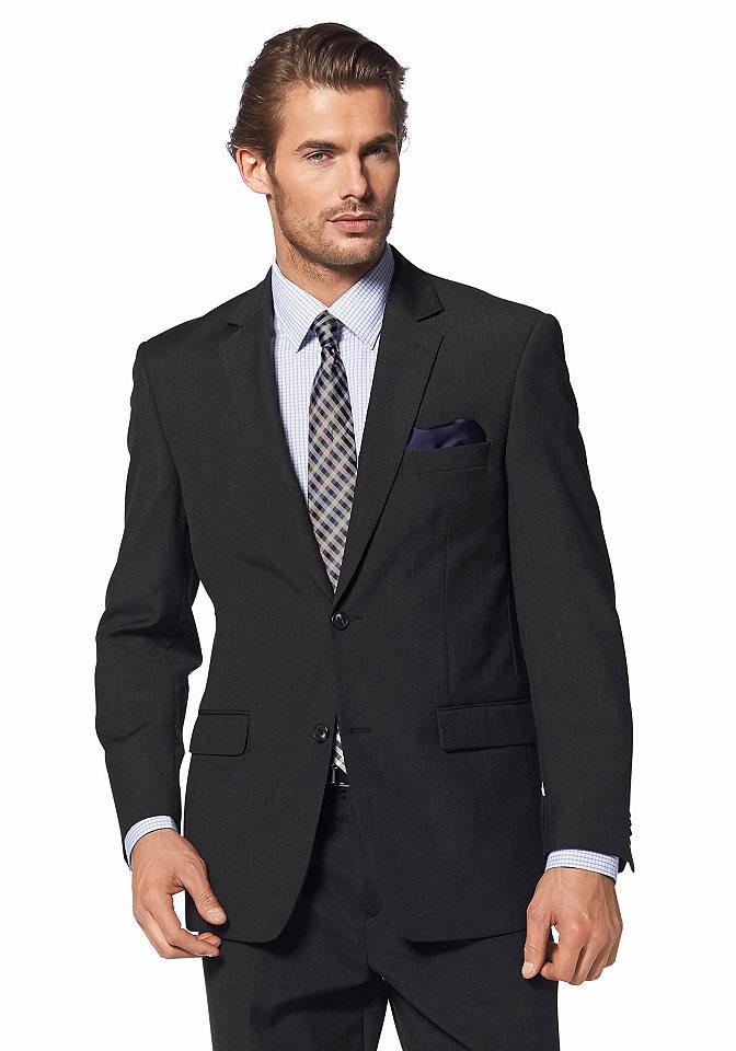 Пиджак OttoОфисная одежда<br>Элегантный мужской пиджак идеально впишется в офисный гардероб. Модель на 2-х пуговицах дополнена узким отложным воротником, карманами с клапанами внизу и карманом с застежкой-молнией внутри. По бокам удобные разрезы. Пиджак отлично комбинируется со строгими брюками. Длина ок. 75 см (разм. 25).<br><br>Size DE: 48<br>Colour: серый<br>Gender: Мужской<br>Age: Взрослый<br>Material: Подкладка: 52% полиэстер / 48% вискоза;Верх: 50% шерсть / 50% полиэстер