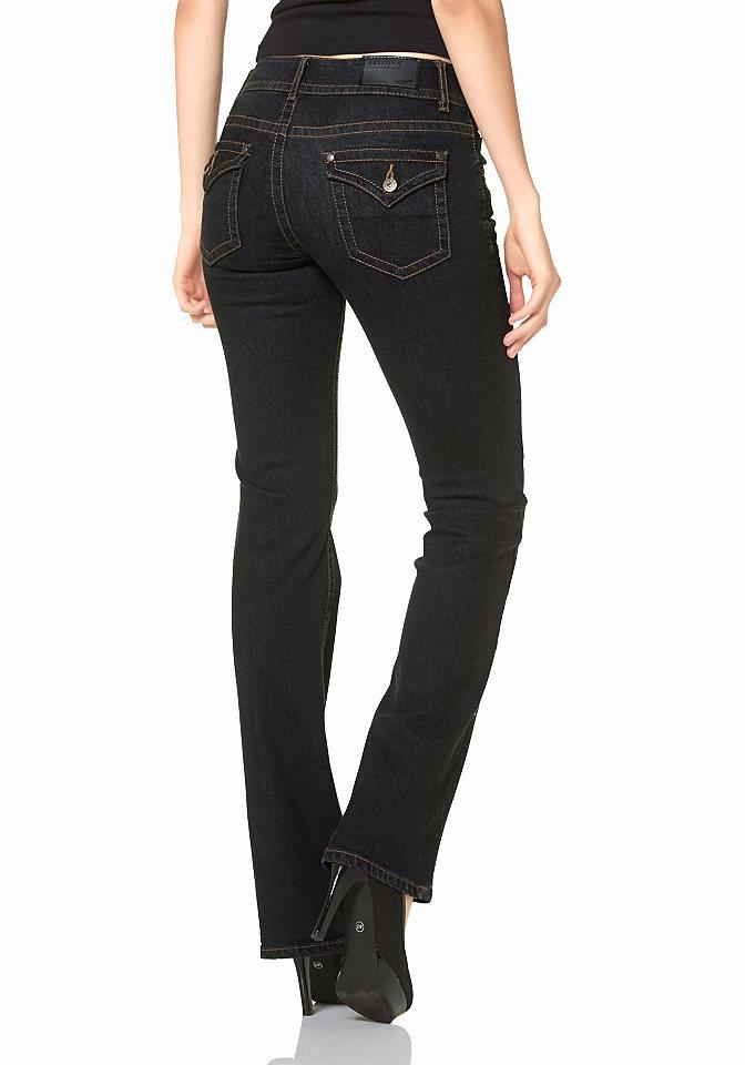 Моделирующие джинсы OttoПокрой Bootcut<br>Джинсы от известного бренда ARIZONA с чудесным моделирующим эффектом. Модель подтягивает ягодицы и делает ноги визуально стройнее и длиннее. Для этого джинсы имеют несколько расклешенный крой. Оригинальная и женственная деталь — фантазийная форма задних карманов, еще сильнее притягивающая взгляды к обладательнице столь великолепной фигуры. Никогда не выходящие из моды потертости на брючинах добавят стильности. Модель сшита из мягкого денима, позволяющего комфортно себя чувствовать в любой ситуации. Для размера 19 длина по внутреннему шву около 78,5 см, для размера 76 — около 90,5 см.<br><br>Size DE: 46<br>Colour: черный<br>Gender: Женский<br>Age: Взрослый<br>Material: Верх: 98% хлопок / 2% эластан