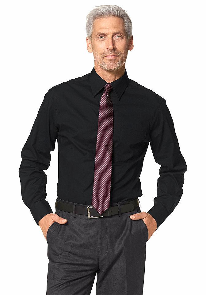 Рубашка OttoОфисная одежда<br>С воротником «кент» и карманом на груди. Манжеты рукавов на двух пуговицах для регулирования ширины. Два различных рисунка: однотонный и в полоску. 100 % хлопка.<br><br>Size DE: 41<br>Colour: черный<br>Gender: Мужской<br>Age: Взрослый<br>Material: Верх: 100% хлопок