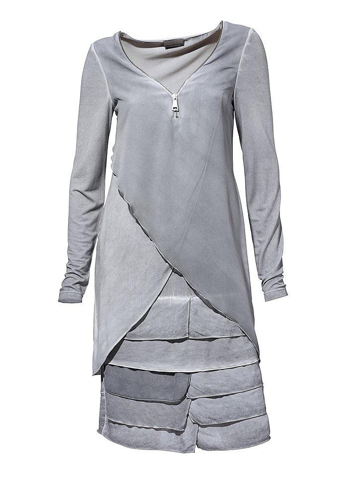 Платье OttoС запахом<br>Необычайно оригинальное женское платье достойно оказаться именно у вас. Множество оборок создает пышность и воздушность. Глубокий треугольный вырез обрамлен молнией. Причудливый цвет с эффектом стираности добавляет изюминку. Фасон в целом хорошо обыграет вашу фигуру. Длина составляет примерно 94 см.<br><br>Size DE: 40<br>Colour: серый<br>Gender: Женский<br>Age: Взрослый<br>Material: Шифон: 100% полиэстер;Комбинация: 100% хлопок;Верх: 95% вискоза / 5% эластан