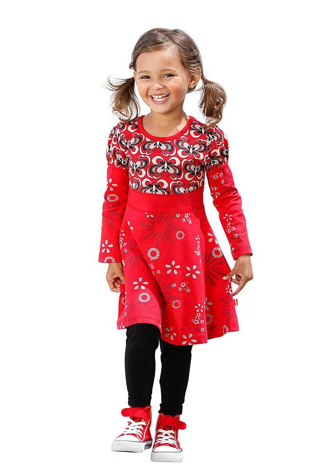 Комплект: платье + легинсы OttoПлатья и юбки<br>Маленькой принцессе обязательно понравится восхитительный комплект Kidoki, состоящий из платья и легинсов. Яркое платье декорировано интересным принтом и серебристым логотипом, рукава с небольшими фонариками вверху. Однотонные легинсы совершенно универсальны - они легко подойдут к любым туникам, длинным свитерам и футболкам. Комплект Kidoki - легкий способ создать модный наряд. Материал: платье 100% хлопок, легинсы 95% хлопок, 5% эластан.<br><br>Size DE: 104<br>Colour: красный<br>Age: Детский<br>Material: Верх: 100% хлопок;Нижняя часть: 95% хлопок / 5% эластан