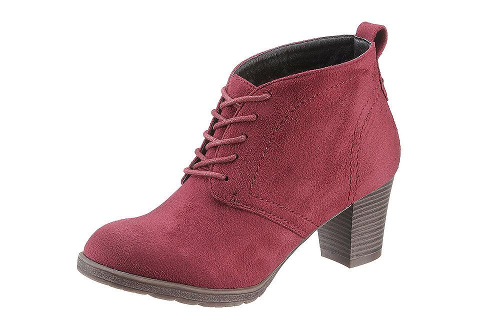 Ботильоны OttoСапожки<br>Ботильоны на шнуровке City Walk из текстиля с отделкой под велюр. Подкладка и стелька выполнены из текстиля, подошва — из синтетического материала. Высота каблука — 55 мм, полнота модели — F (средняя).<br><br>Size DE: 36<br>Colour: красный<br>Gender: Женский<br>Age: Взрослый