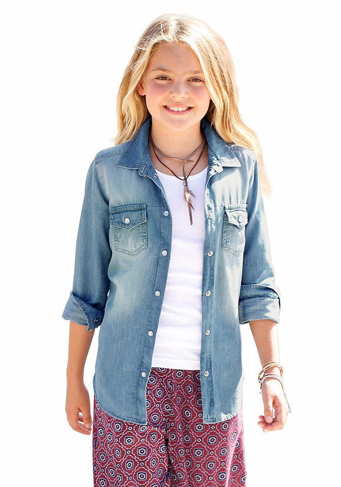 Arizona рубашка для девочек OttoБлузки и туники<br>Планка застёжки на кнопки под перламутр. Актуальная расцветка. Мягкий деним из 100 % хлопка.<br><br>Size DE: 134<br>Colour: синий<br>Age: Детский<br>Material: Верх: 100% хлопок