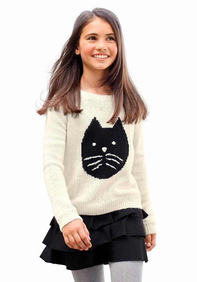 Пуловер OttoПуловеры<br>Юная любительница кошек оценит детский свитер CFL. Мягкая вязка базового кроя дополнена очаровательным мотивом спереди и эластичной вязкой по краям (на длинных рукавах, по низу и на круглой горловине). Пуловер для девочек отлично подойдет к любым джинсам и юбкам.<br><br>Size DE: 152<br>Colour: бежевый<br>Age: Детский<br>Material: Верх: 100% полиакрил