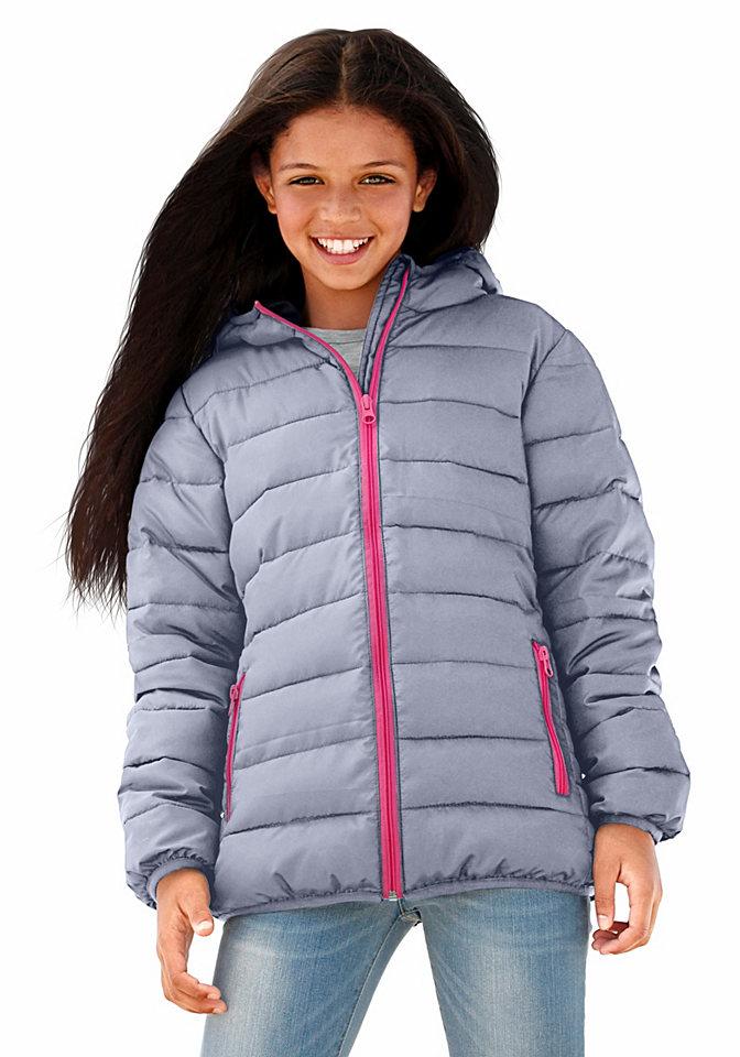 Стеганая куртка OttoКуртки и пальто<br>Детская одежда должна быть модной, одновременно, практичной, комфортной. Все эти черты можно найти в оригинальной стеганой куртке от известного бренда Arizona. Модель из теплого мягкого материала идеально скроена, она защитит, согреет ребенка от непогоды в период межсезонья. Приталенный крой стеганной курточки придает объемности силуэту. Спортивную нотку изделия подчеркивает оригинальная простежка, блестящие контрастные молнии. Модель идеально комбинируется с брюками, джинсами, ее можно носить с любимыми юбками, бриджами. Вещь универсальна, практична, ее можно стирать в машинке, не боясь деформации изделия.<br><br>Size DE: 152<br>Colour: серый<br>Gender: Женский<br>Age: Детский<br>Material: Подбивка: 100% полиэстер;Подкладка: 100% полиэстер;Верх: 100% полиэстер