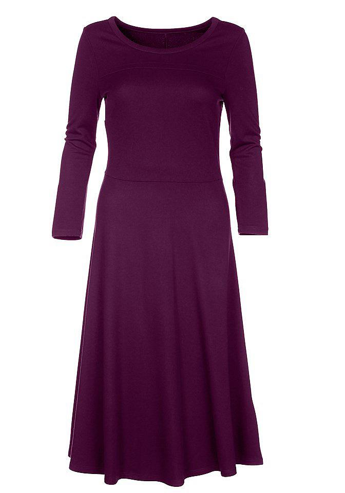 null 332947Вязаные<br>Элегантное платье из джерси. Приталенный фасон с отстрочной впереди, круглый вырез, рукава 3/4, юбка-клеш. Материал: 70% полиэстер, 25% вискоза, 5% спандекс. Длина около 98см. Уместно в офисе, а в сочетании с акксессуарами вполне подходит для вечернего выхода.<br><br>Size DE: 36<br>Colour: фиолетовый<br>Gender: Женский<br>Age: Взрослый<br>Material: Верх: 70% полиэстер / 25% вискоза / 5% эластан