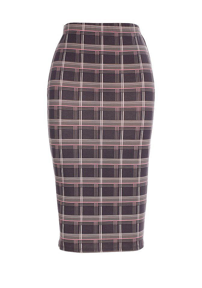 null 421958Юбки<br>Скорее всего, многие согласятся с тем, что классическая юбка вряд ли когда-нибудь выйдет из моды. Однако даже этот стиль может модернизироваться и совершенствоваться, благодаря вмешательству дизайнеров и модельеров. Перед вами модель классической юбки с фантазийной ноткой. Она скроена из плотного джерси и украшена довольно оригинальным и завоевавшим особое внимание рисунком в клетку. Юбка имеет довольно эластичный пояс в области талии, который способен обеспечить полный комфорт ее обладательнице. Хотите чтобы ваш образ был на максимальной высоте, тогда дополните эту юбку изящными туфлями на каблуке. Длина юбки составляет около 64 см.<br><br>Size DE: 42<br>Colour: серый<br>Gender: Женский<br>Age: Взрослый<br>Material: Верх: 70% полиэстер / 25% вискоза / 5% эластан