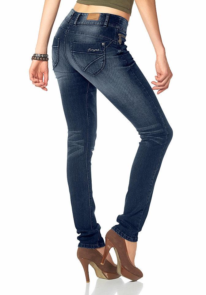 Джинсы Push-up OttoПрямые<br>Купить эти модные джинсы от Arizona захочет каждая женщина! Узкие брюки создают привлекательный силуэт благодаря эффекту пуш-ап в области ягодиц. Модель потертой расцветки дополнена накладными карманами сзади, втачными карманами и карманом с застежкой-молнией спереди и притачным поясом со шлевками. На задних карманах оригинальная отсрочка. Завершающий элемент - декоративные складки. Джинсы идеальны для комбинирования как с топами, так и с пуловерами. Длина ок. 88,5 см для размера 76 и ок. 76,5 см для размера 19.<br><br>Size DE: 36<br>Colour: синий<br>Gender: Женский<br>Age: Взрослый<br>Material: Верх: 98% хлопок / 2% эластан