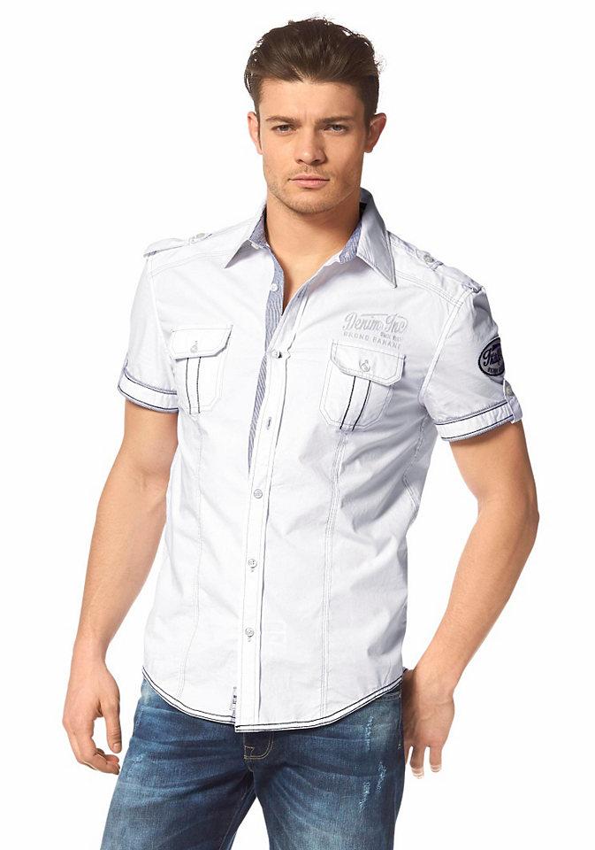 Рубашка OttoУличная одежда<br>Рубашка с короткими рукавами – Bruno Banani Рубашка с короткими рукавами, вышивками и декоративными ригелями на плечах. Контрастная отстрочка вдоль планки с пуговицами, на нагрудных карманах и рукавах в сочетании с классическим отложным воротником. Крупная вышивка на спине. Стильная модель с эффектными деталями создают оригинальную комбинацию элегантности и непринужденности для настоящих мужчин.<br><br>Size DE: XL<br>Colour: белый<br>Gender: Мужской<br>Age: Взрослый<br>Material: Верх: 100% хлопок