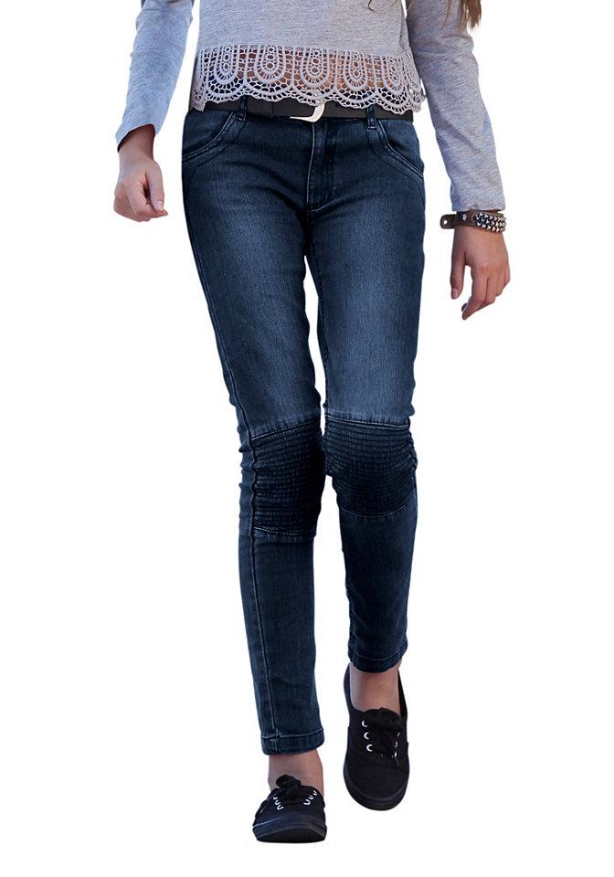Джинсы в байкерском стил OttoБрюки и джинсы<br>Джинсы с декоративной прострочкой на коленях, заклепками на карманах и передними карманами со стеганым кантом. Узкий покрой. Модель изготовлена из эластичного денима. Тип изделия: джинсы. Качество изделия: материал безопасен для кожи. покрой: узкий. Брючины: длинные. Посадка: нормальная. Тип застежки: кнопка до размера 134, регулируемый пояс на резинке до размера 146. Количество карманов: 4. Передние и боковые карманы: прорезные. Задние карманы: накладные. Низ брючин: стеганый кант. Рекомендуется машинная стирка. Доставка: в горизонтальном положении. Лицевой материал: 98% хлопок, 2% эластан. Материал: Модель голубого цвета: джинса. Модель черного цвета: твил. Расцветка: Модель голубого цвета: с эффектом «состаренности». Модель черного цвета: одноцветная.<br><br>Size DE: 158<br>Colour: синий<br>Gender: Женский<br>Age: Детский<br>Material: Верх: 81% хлопок / 17% полиэстер / 2% эластан