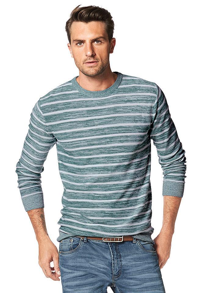 Пуловер OttoУличная одежда<br>Трикотажный пуловер в полоску - вечная классика стиля кэжуал! Горловина, края длинных рукавов и низ дополнены резинкой в рубчик. Узкий покрой подчеркивает телосложение, а меланжевый трикотаж с приятной фактурой создает комфорт на весь день. Купить такой пуловер в нашем интернет-магазине одежды - значит приобрести идеального компаньона для джинсов и демократичных брюк!<br><br>Size DE: M<br>Colour: зеленый<br>Gender: Мужской<br>Age: Взрослый<br>Material: Верх: 61% полиэстер / 39% хлопок