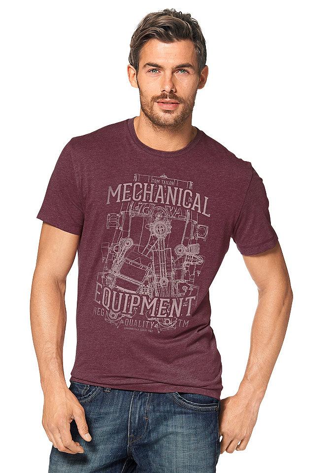 Футболка OttoУличная одежда<br>Меланжевая футболка из коллекции Tom Tailor - маст-хэв для мужского гардероба! Благодаря удобному покрою она отлично сидит и не сковывает движения. В составе ткани высокая доля хлопка для оптимального комфорта. Модель с короткими рукавами и округлой горловиной декорирована оригинальным потертым рисунком спереди. Цените сочетание стиля и практичности? Тогда вам точно нужно купить эту мужскую футболку!<br><br>Size DE: M<br>Colour: красный<br>Gender: Мужской<br>Age: Взрослый<br>Material: Верх: 60% хлопок / 40% полиэстер