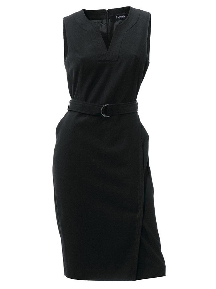 Платье-футляр OttoПлатья-футляры<br>Элегантное черное платье - культовый маст-хэв любого женского гардероба! Фасон без рукавов дополнен имитацией запаха на юбке, разрезом на круглой горловине, карманами и поясом на талии. Стрейчевая ткань на подкладке содержит вискозу, благодаря которой материал очень приятен к телу. Скрытая молния - для наибольшей практичности. Длина составляет примерно 104 см.<br><br>Size DE: 38<br>Colour: черный<br>Gender: Женский<br>Age: Взрослый<br>Material: Подкладка: 100% полиэстер;Верх: 77% полиэстер / 20% вискоза / 3% эластан