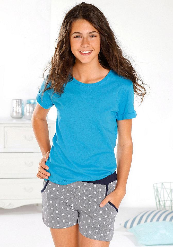 Пижама с шортами OttoКороткая пижама, представленная маркой Arizona, - лучший выбор для тех, кто ценит и комфорт, и стильный дизайн! Нежный натуральный хлопок, очаровательный горошек, круглая горловина, отвороты на шортах обязательно придутся вам по душе. Материал: 100% хлопок.<br><br>Size DE: 146<br>Colour: белый<br>Gender: Женский<br>Age: Детский<br>Material: Верх: 100% хлопок