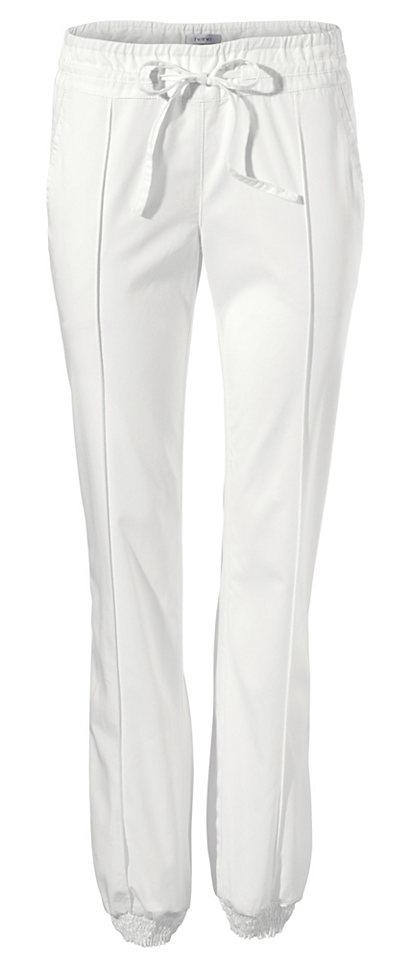 Джинсы OttoШирокие<br>Эти джинсы - отличный вариант для тех, кто хочет купить оригинальную вещь! Свободный покрой с широкой резинкой внизу, эластичной кулиской на поясе, простроченными складками спереди и карманами по бокам и сзади придает брюкам спортивный вид. Для индивидуального образа носите их с классическими лодочками и узким топом. Длина по внутреннему шву ок. 81 см.<br><br>Size DE: 44<br>Colour: белый<br>Gender: Женский<br>Age: Взрослый<br>Material: Верх: 100% хлопок