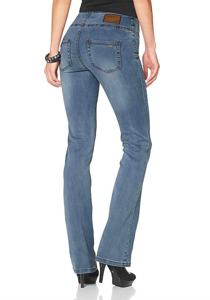 Джинсы-бутка OttoПокрой Bootcut<br>Высокий пояс и формирующие швы для эффекта коррекции фигуры. Модель буткат с классической посадкой. Имеет застежку-молнию. Легкий эффект состаренности. Комфортный эластичный деним. Тип изделия: джинсы буткат. Форма штанин: буткат. Силуэт: узкий. Пояс + застежка: пуговица, молния. Посадка: комфортная. Рекомендуется машинная стирка. Состав материала: светло-серый, размытый, темно-синий: 75% хлопок, 23% полиэстер, 2% эластан. Черный: 75% хлопок, 23% полиэстер, 2% эластан.<br><br>Size DE: 17<br>Colour: синий<br>Gender: Женский<br>Age: Взрослый<br>Material: Верх: 71% хлопок / 27% полиэстер / 2% эластан