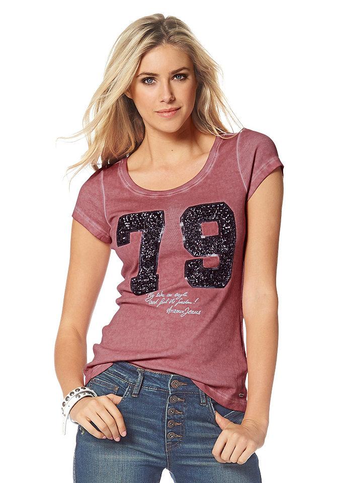 Кофточка OttoФутболки<br>В кофточке от Arizona гармонично переплелись несколько популярных молодежных трендов. Она выполнена из потертого материала с контрастной отстрочкой, ее украшают цифры, придающие модели спортивную нотку. И, наконец, гламурный лоск футболке обеспечивают блестящие пайетки - ни одна модница не сможет устоять. Покрой по фигуре дополнен круглым вырезом и короткими рукавами - лучшая модель на каждый день. Носите кофточку с юбками, джинсами или брюками - она легко впишется в любой стиль!<br><br>Size DE: 36<br>Colour: розовый<br>Gender: Женский<br>Age: Взрослый<br>Material: Верх: 100% хлопок