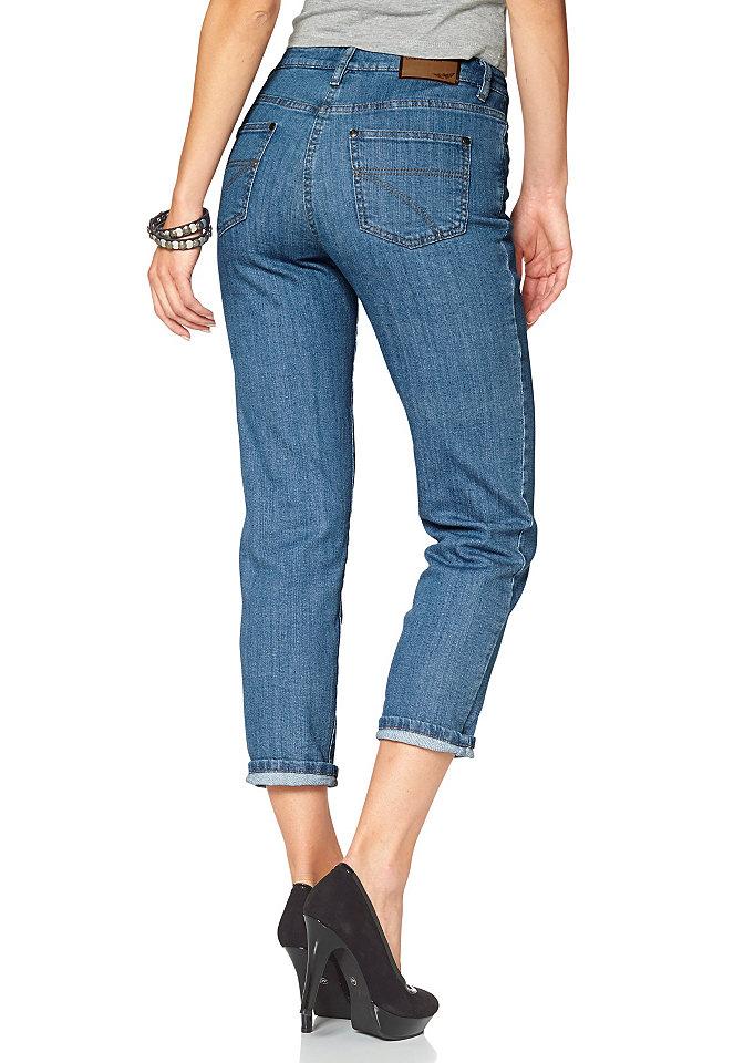 Джинсы Annetti OttoПрямые<br>Хит сезона: джинсы в стиле Girlfriend от марки Arizona! Этот модный фасон превратит даже простую комбинацию из футболки и джинсов в стильный молодежный образ. Актуальная длина 7/8, идеальная для теплой погоды, открывает щиколотки, привнося в ваш облик еще больше изящности. Характерные детали, такие как пояс с петлями для ремня, 5 карманов, аппликация-логотип и застежка-молния с пуговицей, подчеркивают традиционный джинсовый стиль брюк. Джинсы Anette от Arizona - отличный выбор для продвинутой модницы. Длина по внутреннему шву для размера 38 ок. 65,5 см.<br><br>Size DE: 44<br>Colour: синий<br>Gender: Женский<br>Age: Взрослый<br>Material: Верх: 98% хлопок / 2% эластан
