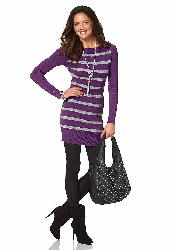 Платье OttoДля вечеринок<br>Для эффектного образа рекомендуем платье от марки Melrose, украшенное блестящим узором в полоску. Узкий крой с вырезом-лодочкой подчеркивает фигуру. По краям вязка в рубчик. Мягкий трикотаж с добавлением вискозы приятен для тела.<br><br>Size DE: 42<br>Colour: фиолетовый<br>Gender: Женский<br>Age: Взрослый<br>Material: Верх: 71% вискоза / 20% полиамид / 9% металлизированные волокна