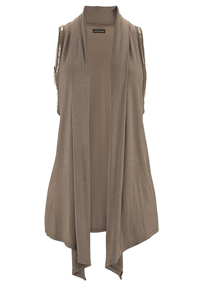 Пляжный жилет OttoПляжная одежда<br>Элегантный жилет от модного бренда Lascana – оригинальный вариант для летнего женского гардероба. Модель актуального свободного кроя удобна, идеально сидит по фигуре. Украшают ее блестящие пайетки, которыми декорированы проймы. Удлиненные края спереди можно завязывать узлом, что придаст образу динамичности. Жилет сшит из приятного на ощупь мягкого джерси, что гарантирует комфорт в любой ситуации. Изделие можно комбинировать с чем угодно. Он будет стильно смотреться с джинсами, короткими бриджами на пляжном отдыхе. Жилет от Lascana можно сочетать с юбками любого фасона, длины, создавая модные городские ансамбли.<br><br>Size DE: 40<br>Colour: зеленый<br>Gender: Женский<br>Age: Взрослый<br>Material: Верх: 95% вискоза / 5% эластан